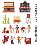 cowboy wild west set with... | Shutterstock .eps vector #1137236636