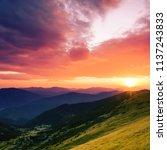 colorful summer sunrise...   Shutterstock . vector #1137243833