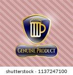 golden emblem with beer jar... | Shutterstock .eps vector #1137247100