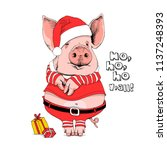 pig in a santa's red costume... | Shutterstock .eps vector #1137248393