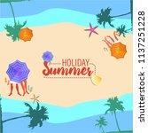 summer holiday banner  sand... | Shutterstock .eps vector #1137251228