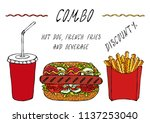 hot dog  french fries in a box... | Shutterstock .eps vector #1137253040
