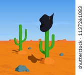 cowboy hat on cactus in the... | Shutterstock .eps vector #1137261083
