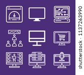 set of 9 screen outline icons... | Shutterstock . vector #1137263990