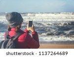 young beautiful traveler girl... | Shutterstock . vector #1137264689