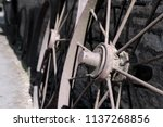 rusty old farm cart wheels...   Shutterstock . vector #1137268856