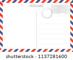 postcard. air mail. postal card ... | Shutterstock .eps vector #1137281600