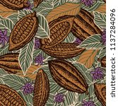 cacao beans seamless pattern | Shutterstock .eps vector #1137284096