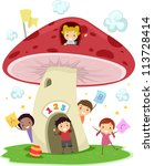 Illustration of KIds Playing Around a Mushroom-Shaped School - stock vector