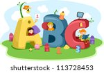illustration of kids playing... | Shutterstock .eps vector #113728453
