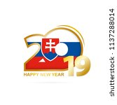 year 2019 with slovakia flag... | Shutterstock .eps vector #1137288014