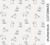 french bulldog print pattern.... | Shutterstock .eps vector #1137288653