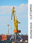 cargo crane and freight traine... | Shutterstock . vector #113728903