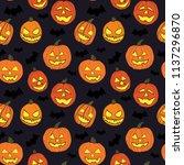 halloween seamless pattern with ... | Shutterstock .eps vector #1137296870