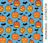 halloween seamless pattern with ... | Shutterstock .eps vector #1137301718