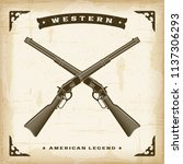 vintage western rifles.... | Shutterstock .eps vector #1137306293