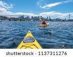 Kayaking at Lake Union in Seattle, WA - stock photo