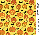 halloween seamless pattern with ... | Shutterstock .eps vector #1137313280