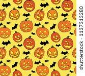 halloween seamless pattern with ... | Shutterstock .eps vector #1137313280