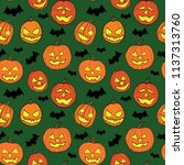 halloween seamless pattern with ... | Shutterstock .eps vector #1137313760