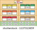 days of the week worksheets ... | Shutterstock .eps vector #1137313859