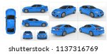 Stock photo car isolated on white blue paint tinted glass collection of all characteristic views top 1137316769