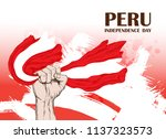 peru's independence day. july... | Shutterstock .eps vector #1137323573