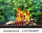 firewood burning in the brazier ... | Shutterstock . vector #1137342809