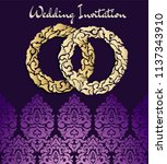 vintage wedding card with a... | Shutterstock .eps vector #1137343910