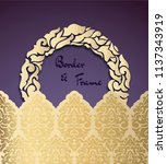 vintage card with a golden... | Shutterstock .eps vector #1137343919
