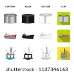 oil refinery  tank  tanker ... | Shutterstock .eps vector #1137346163
