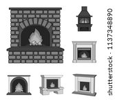 different kinds of fireplaces...   Shutterstock .eps vector #1137348890