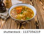 dolma shurpa uzbek cuisine | Shutterstock . vector #1137356219