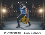 handsome young fit muscular... | Shutterstock . vector #1137360209