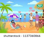 summer beach bar with internet...   Shutterstock .eps vector #1137360866