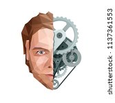 artificial mind concept. face... | Shutterstock .eps vector #1137361553