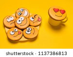 a bunch of smile cookies on a... | Shutterstock . vector #1137386813