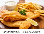 fish and chips with french... | Shutterstock . vector #1137390596