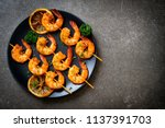 grilled tiger shrimps skewers... | Shutterstock . vector #1137391703