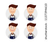 set funny face male boy barista ... | Shutterstock .eps vector #1137394610