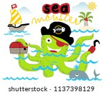 vector cartoon of green sea... | Shutterstock .eps vector #1137398129