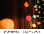colorful cotton ball lights... | Shutterstock . vector #1137406976