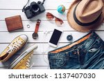 travel accessories costumes.... | Shutterstock . vector #1137407030