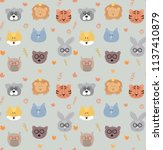 seamless pattern with colorful... | Shutterstock .eps vector #1137410879
