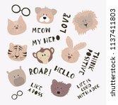 set of cartoon cute animals... | Shutterstock .eps vector #1137411803