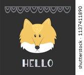 a cute fox head with text  ... | Shutterstock .eps vector #1137411890