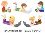 Illustration Of Kids With Laptop