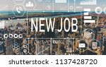 new job with aerial view of... | Shutterstock . vector #1137428720