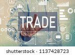 trade with businessman pointing ... | Shutterstock . vector #1137428723