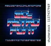 80s retro alphabet font.... | Shutterstock .eps vector #1137437969